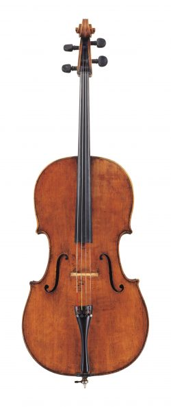 front of a cello by Alessandro Gagliano, Naples, 1724