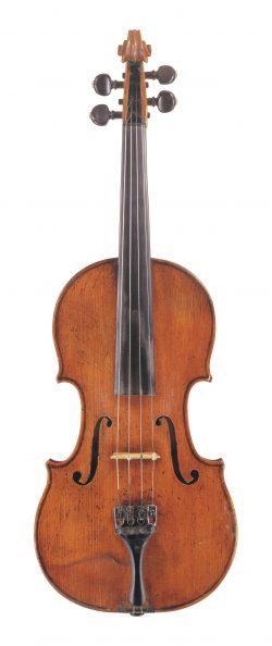 front of a violin by Bernardo Calcagni, 1743