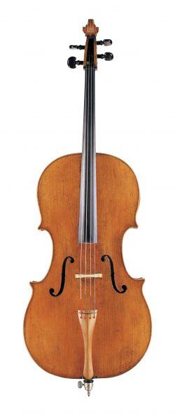 front of a cello by Bernardo Calcagni, Genoa, c1740