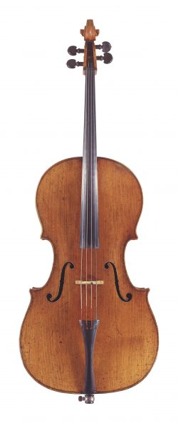 front of a cello by Carlo Antonio, Testore, Milan, 1723