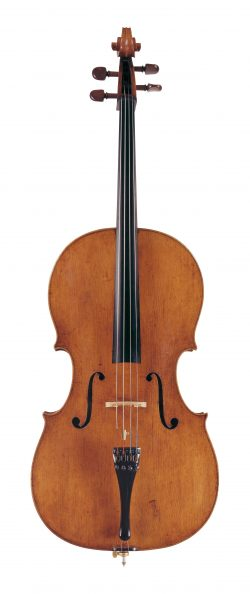 Front of a cello by Francesco Rugeri, Cremona, 1689