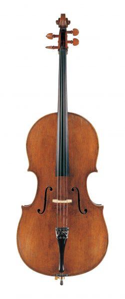 Front of a cello by Giovanni Battista Rogeri, Brescia, circa 1690