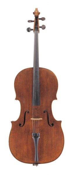 Front of a cello by Giovanni Grancino, Milan,1693