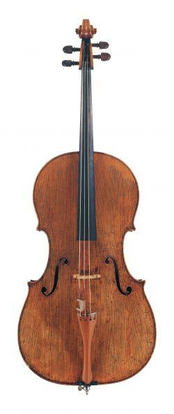 Front of a cello by Giovanni Grancino, Milan, circa 1695