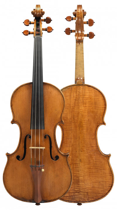 Composite view of a violin by Giuseppe Ceruti, circa 1840. The sound of this violin is transparent and warm yet carries well.