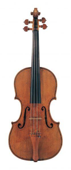 front of a violin by Giuseppe Guarneri del Gesu, dated 1743, Baron Heath