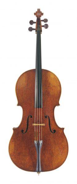 Front of a cello by Pietro Guarneri of Venice, 1725