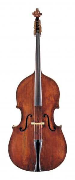 front of a double bass by Domenico Montagnana, Cremona, double bass, c1747