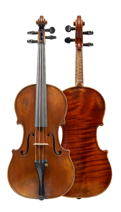 Composite view of a violin by ASP Bernardel, 1829. The wood chosen for this violin is exquisite and the rich burgundy varnish covering the instrument is still largely intact.