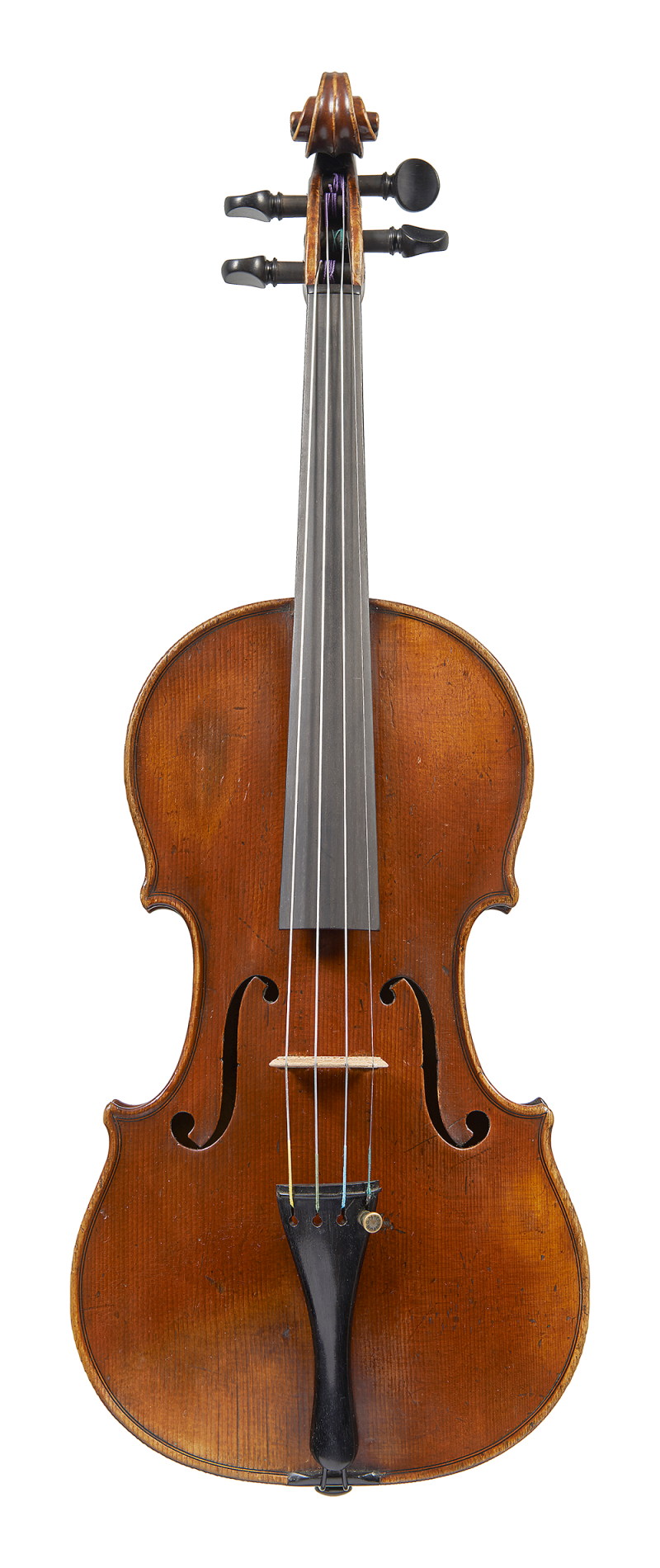 Front of a violin by ASP Bernardel, 1829. The wood chosen for this violin is exquisite and the rich burgundy varnish covering the instrument is still largely intact.