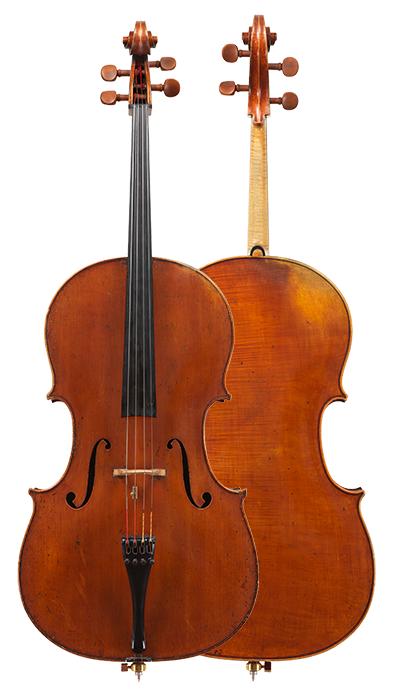 Composite view of a cello by Giovanni Francesco Pressenda, circa 1845. This finely proportioned cello is a superb example of Pressenda's mature period.