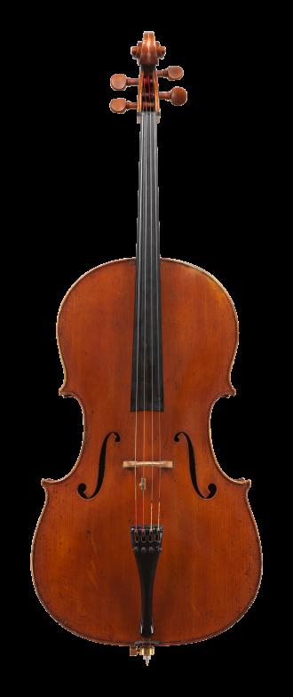 Front of a cello by Giovanni Francesco Pressenda, circa 1845. This finely proportioned cello is a superb example of Pressenda's mature period.