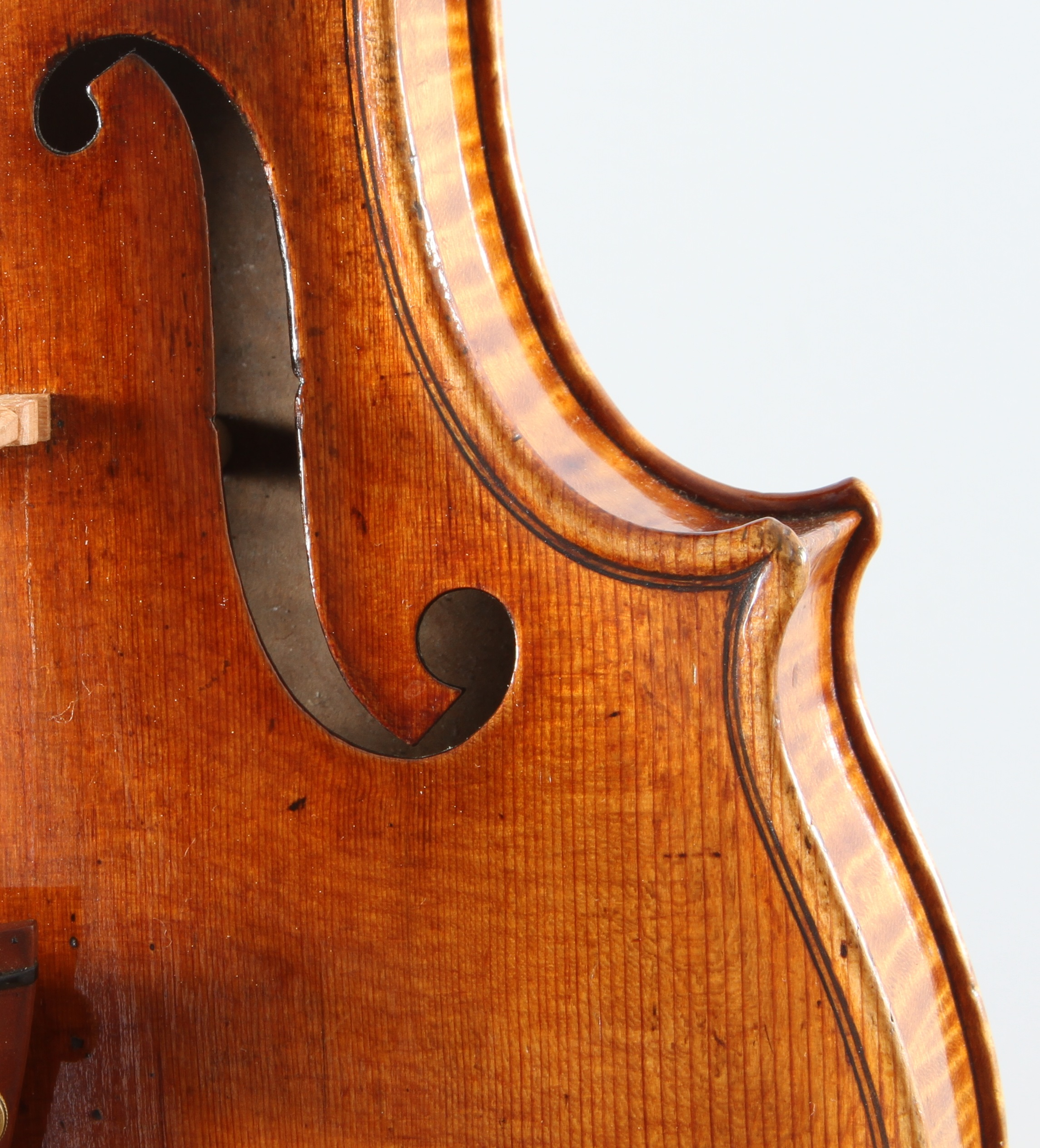 details of a corner from the Molitor violin by Antonio Stradivari, dated 1697