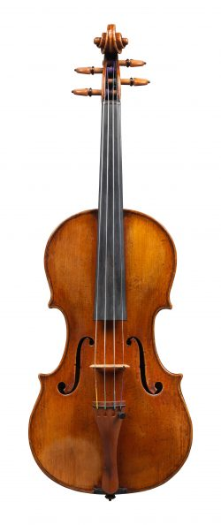 front of a violin by Lorenzo Storioni, Cremona, c1790