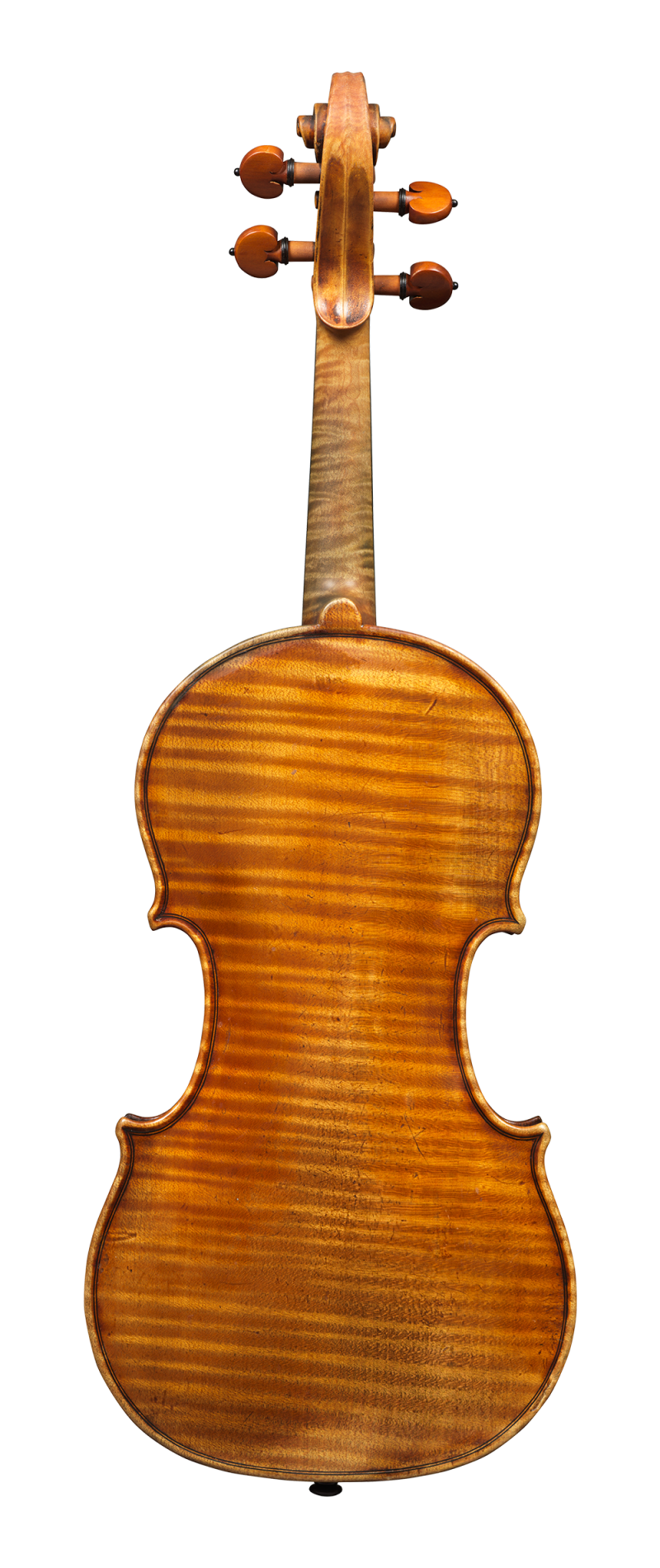 Back of a violin by Alessandro D'Espine, circa 1830. The instrument is made from exceptional wood and covered in luscious orange-red varnish.