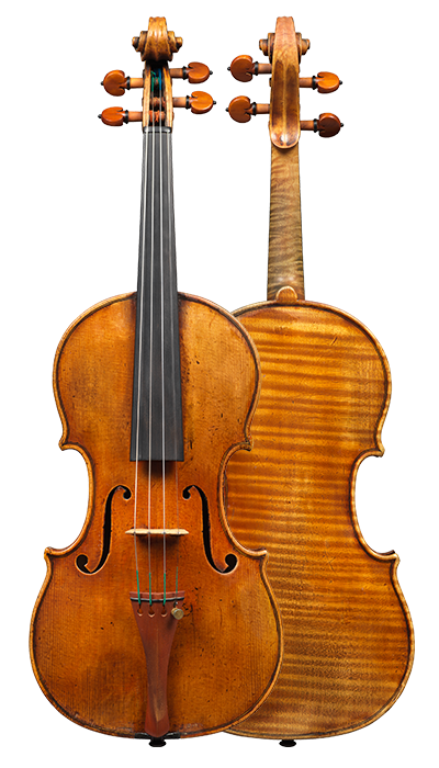 Composite view of a violin by Alessandro D'Espine, circa 1830. The instrument is made from exceptional wood and covered in luscious orange-red varnish.