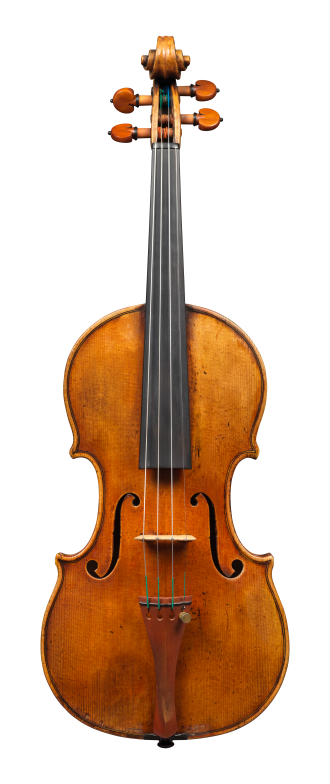 Front of a violin by Alessandro D'Espine, circa 1830. The instrument is made from exceptional wood and covered in luscious orange-red varnish.
