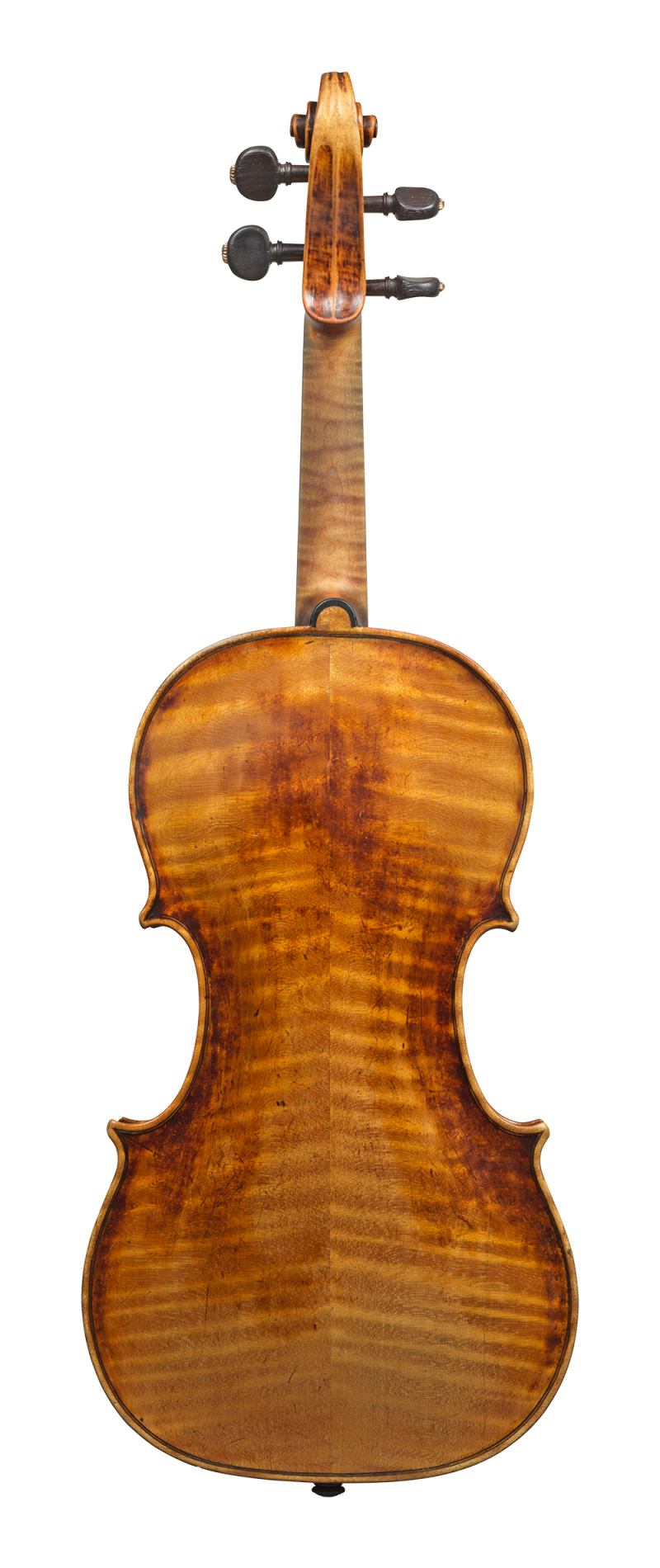 Back of a violin by David Tecchler, 1684. Its sound is very clear and bright across all strings, the response is very quick and articulate.