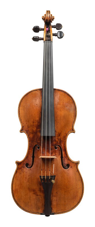 Front of a violin by David Tecchler, 1684. Its sound is very clear and bright across all strings, the response is very quick and articulate.