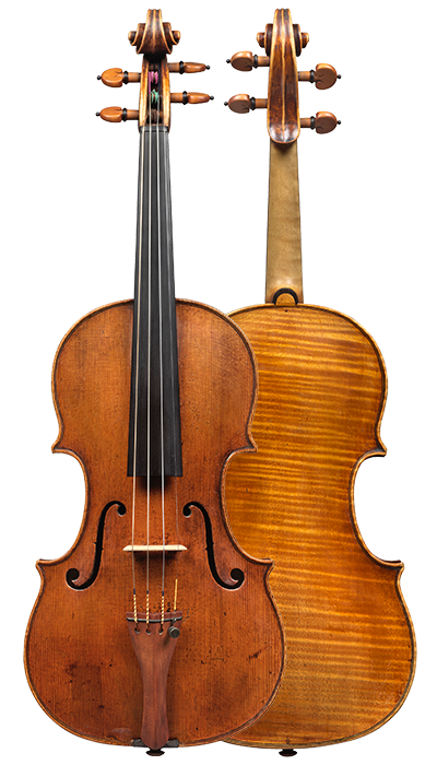 Composite view of a violin by Pietro Guarneri of Venice, 1751, Ex-Benedetti. It was the concert instrument of the renowned violinist Nicola Benedetti, and it was on this violin that she won the BBC Young Musician of The Year in 2004.
