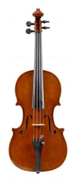 front of a violin by Giacomo & Leandro Bisiach, Milan, 1957
