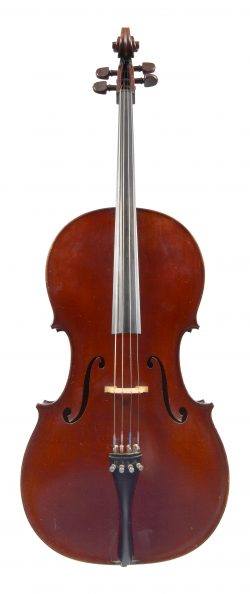 Front of a cello by Joseph Aubry, The Hague, 1931