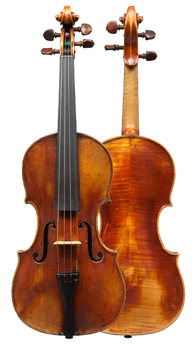 Composite view of a violin by Mathias Albani, circa 1710. Albani was an inspiration for makers in his region for generations to come and the sound of this violin is colourful and powerful yet very versatile.