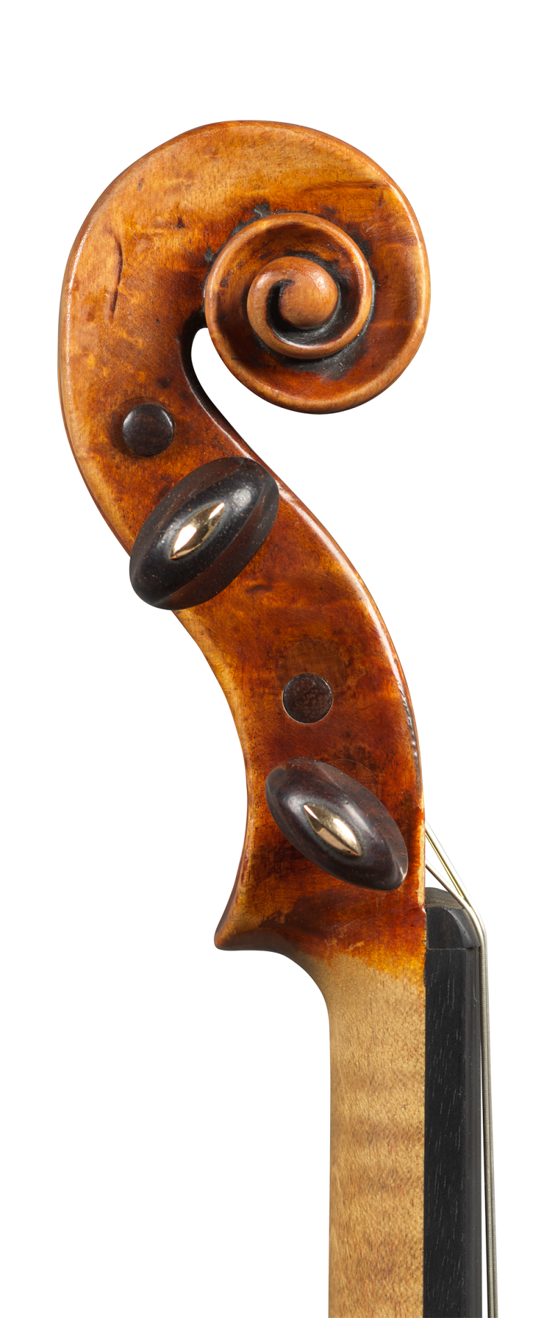 Scroll of a violin by Mathias Albani, circa 1710. Albani was an inspiration for makers in his region for generations to come and the sound of this violin is colourful and powerful yet very versatile.