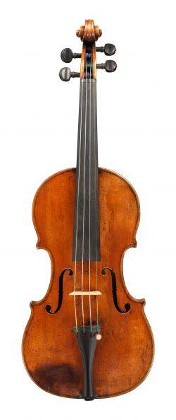front of a violin by Giovanni Battista Guadagnini, 1748