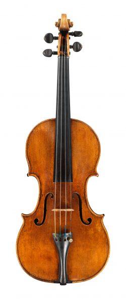 front of a violin by Giuseppe filius Andreae Guarneri, Cremona, 1705