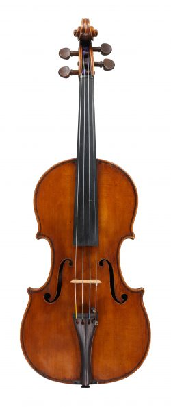 Front of a violin by Leandro Bisiach, Rimini, dated 1919
