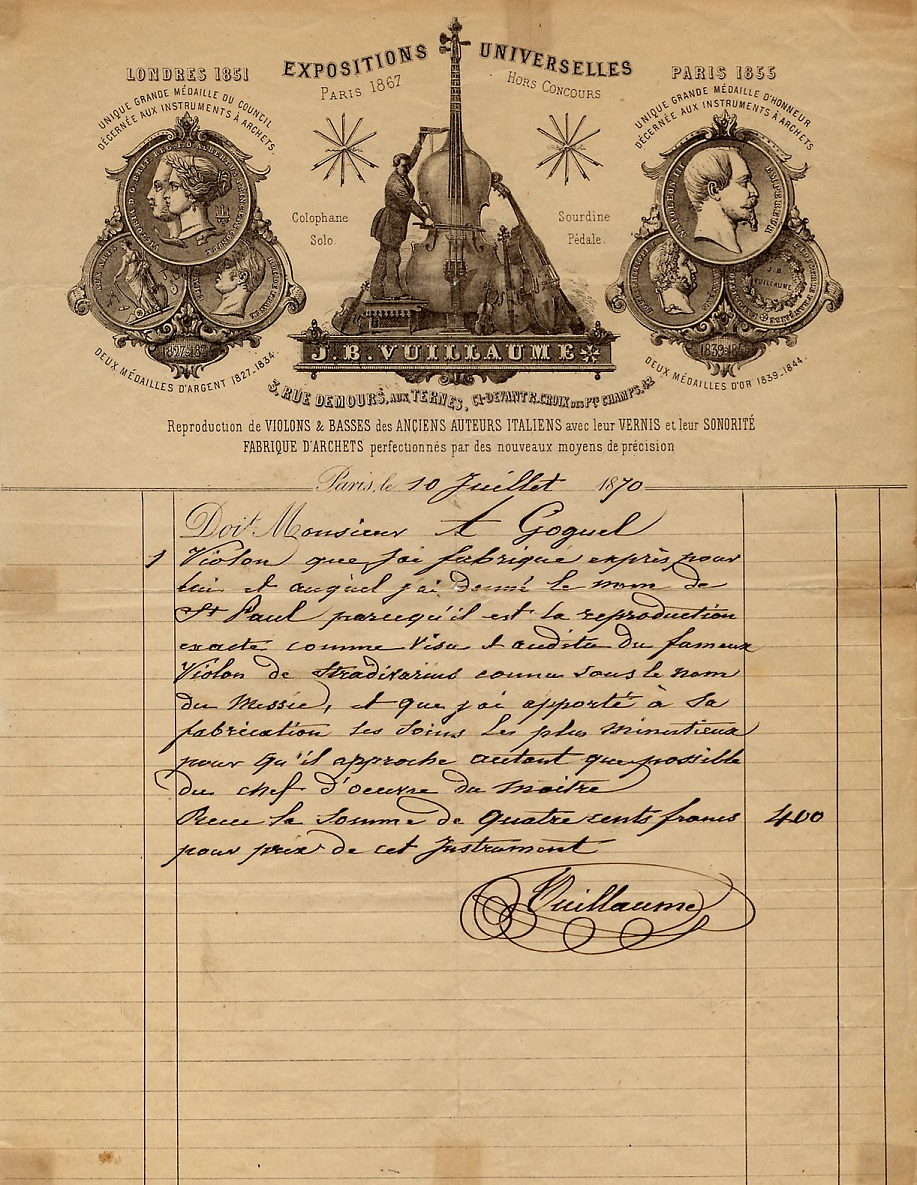 Original receipt from J.B. Vuillaume for the 'St. Paul' violin, dated 1870 exhibited by Ingles & Hayday at Sotheby's in 2012