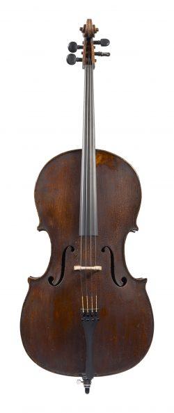 Front of a cello by Armando Monterumici, Bologna, c1910