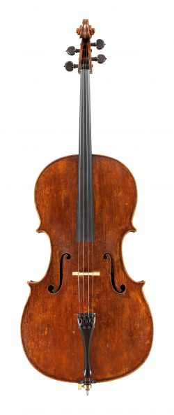 Front of a cello by David Tecchler, Rome, 1705