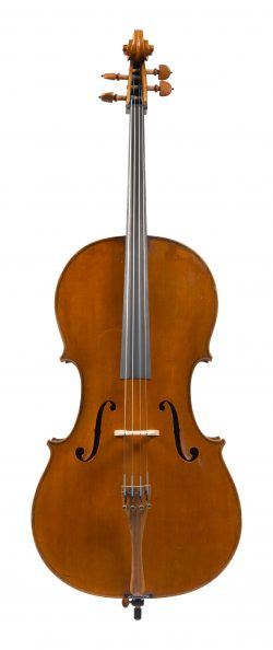 Front of a cello by Enrico Marchetti, Turin, dated 1901