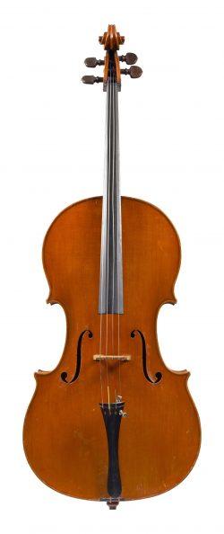 Front of a cello by Ferdinando Garimberti, Milan, dated 1949