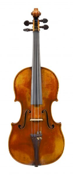 Front of a violin by Gand & Bernardel Frères, Paris, dated 1885