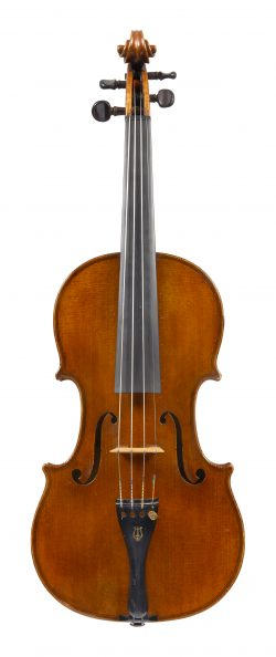 Front of a violin by George Pyne, London, dated 1889
