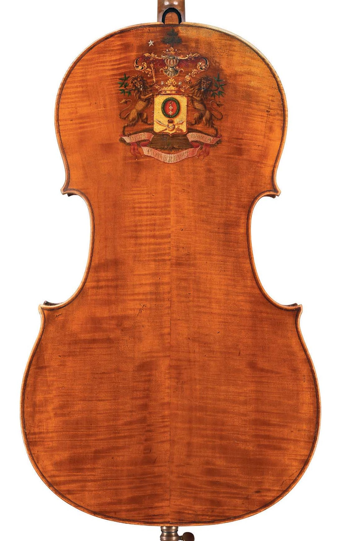 Back of cello by JB Vuillaume, ex-Sheremetev, dated 1865, exhibited by Ingles & Hayday at Sotheby's in 2012