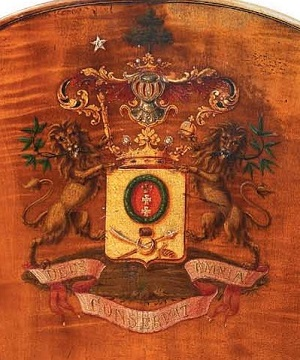 The coat of arms of Count Sheremetev from the Vuillaume exhibition by Ingles & Hayday at Sotheby's in 2012