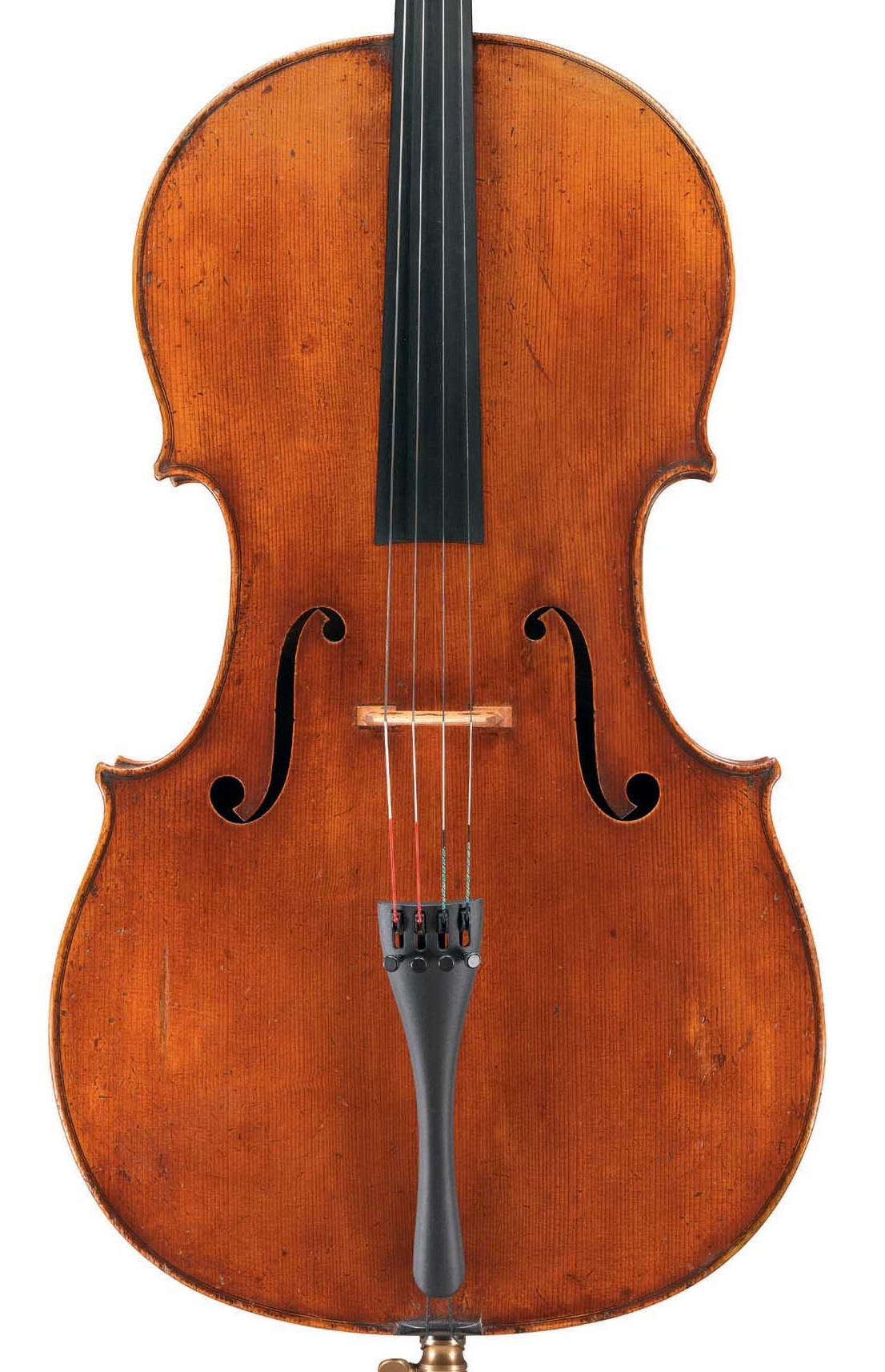 Front of cello by JB Vuillaume, ex-Sheremetev, dated 1865, exhibited by Ingles & Hayday at Sotheby's in 2012