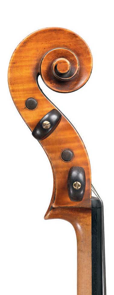 Scroll of cello by JB Vuillaume, ex-Sheremetev, dated 1865, exhibited by Ingles & Hayday at Sotheby's in 2012