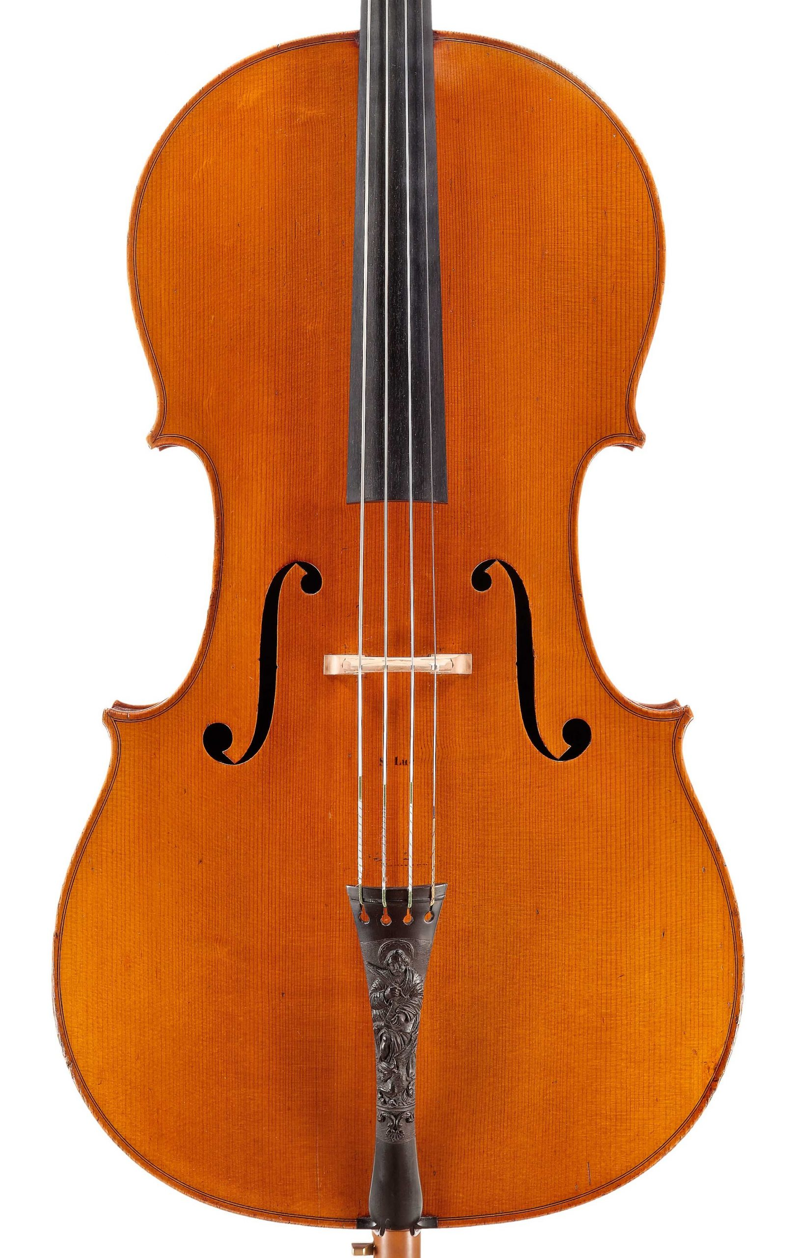 Front of St. Luc cello from the Evangelists quartet by JB Vuillaume, dated 1863