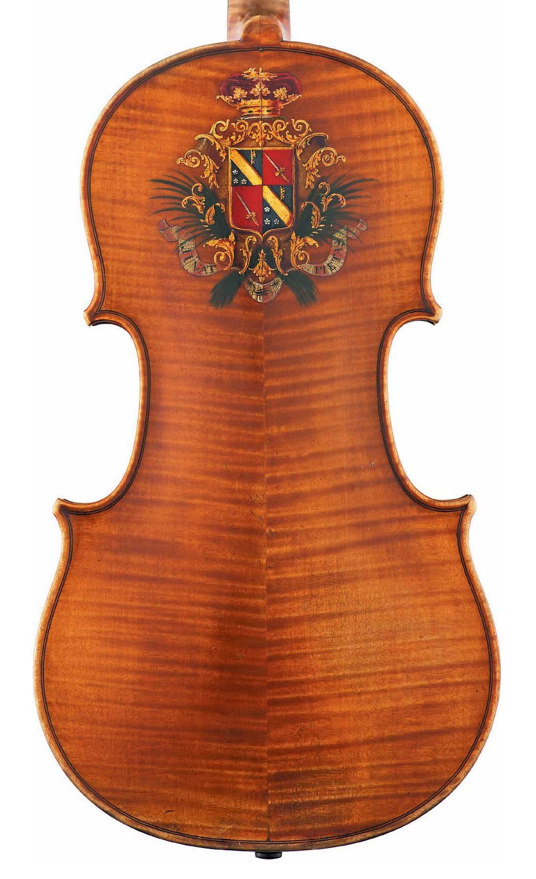 Back of decorated viola by JB Vuillaume, ex-Caraman de Chimay, dated 1865, exhibited by Ingles & Hayday at Sotheby's in 2012