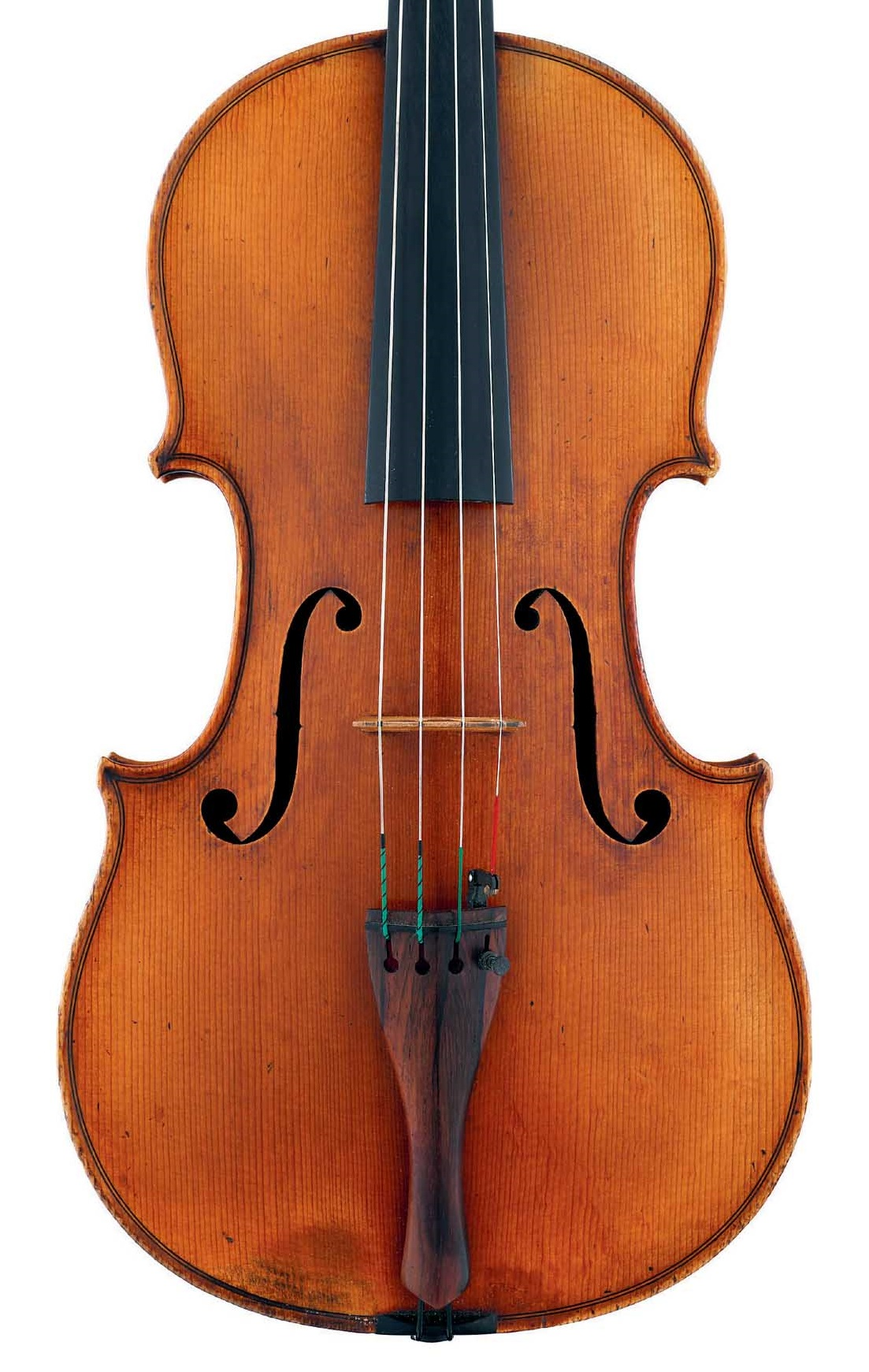 Front of decorated viola by JB Vuillaume, ex-Caraman de Chimay, dated 1865, exhibited by Ingles & Hayday at Sotheby's in 2012