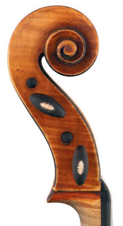 Scroll of decorated viola by JB Vuillaume, ex-Caraman de Chimay, dated 1865, exhibited by Ingles & Hayday at Sotheby's in 2012