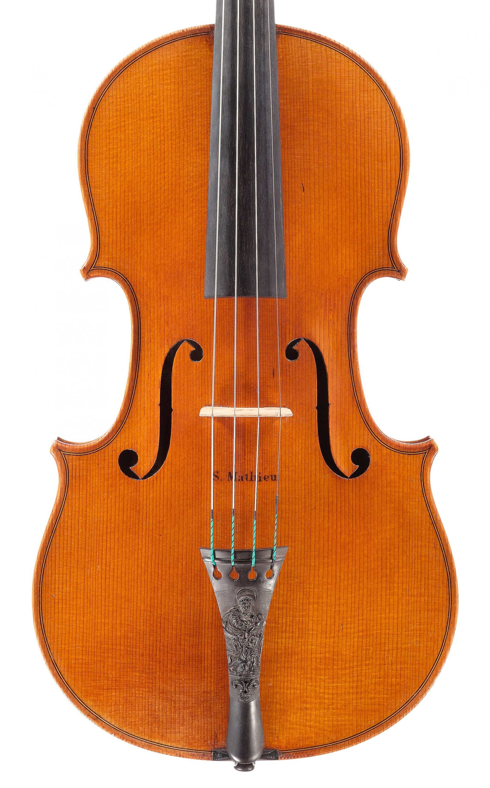 Front of St. Mathieu viola from the Evangelists quartet by JB Vuillaume, dated 1863