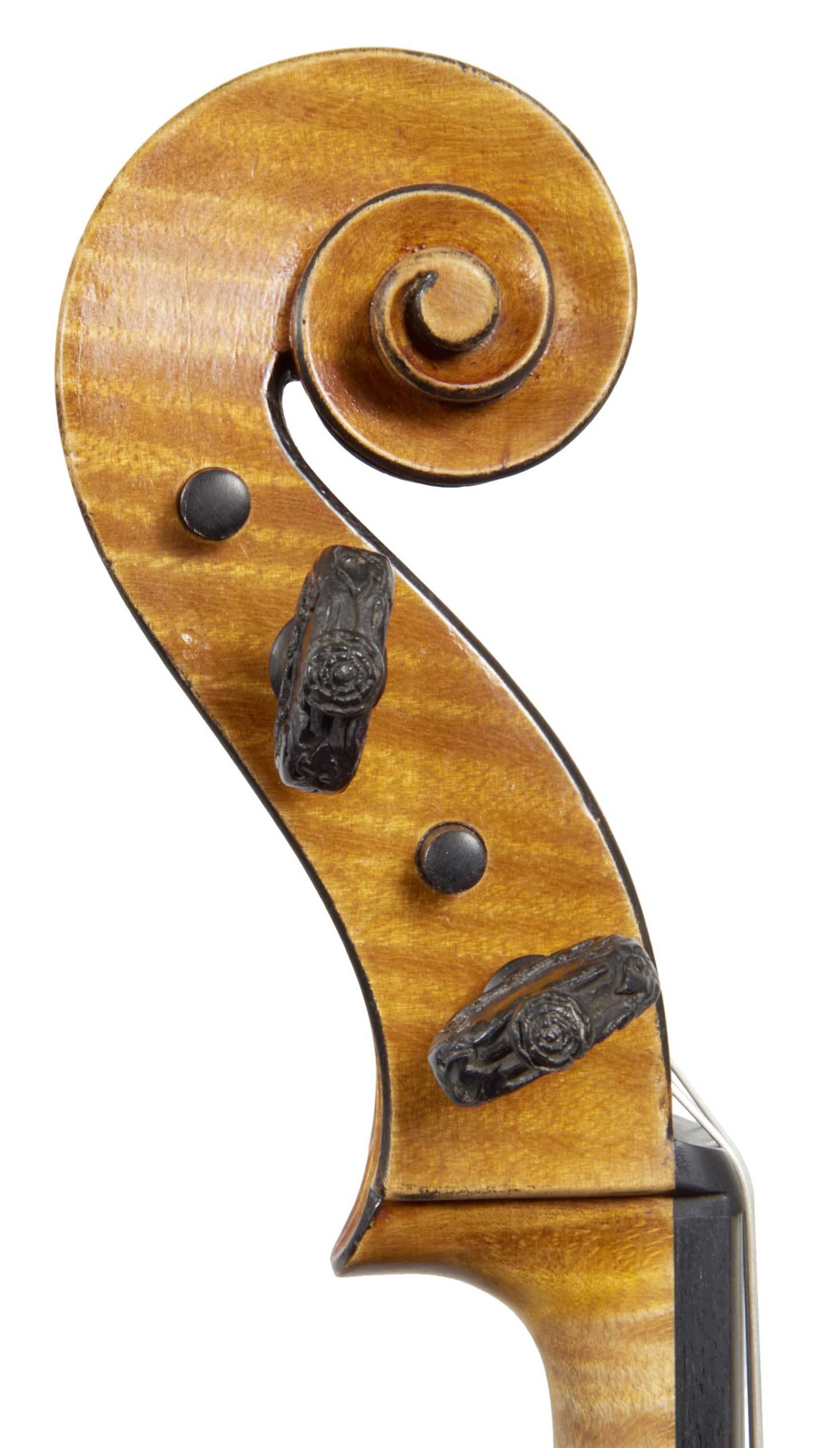Scroll of St. Mathieu viola from the Evangelists quartet by JB Vuillaume, dated 1863