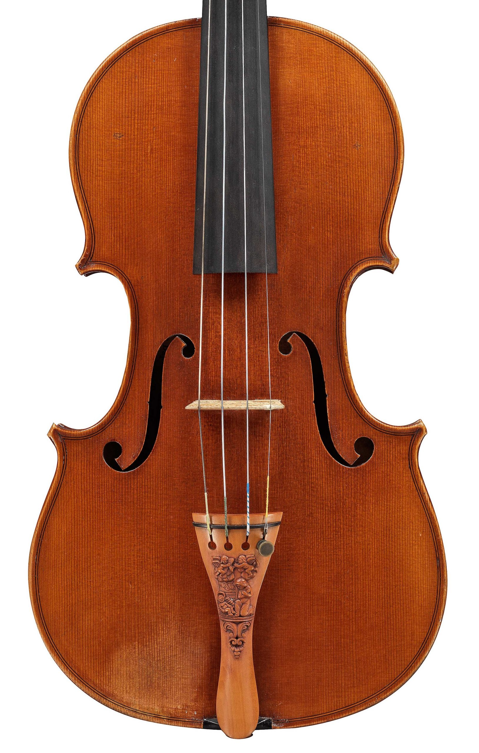 Front of a JB Vuillaume violin, dated 1856, exhibited by Ingles & Hayday at Sotheby's in 2012
