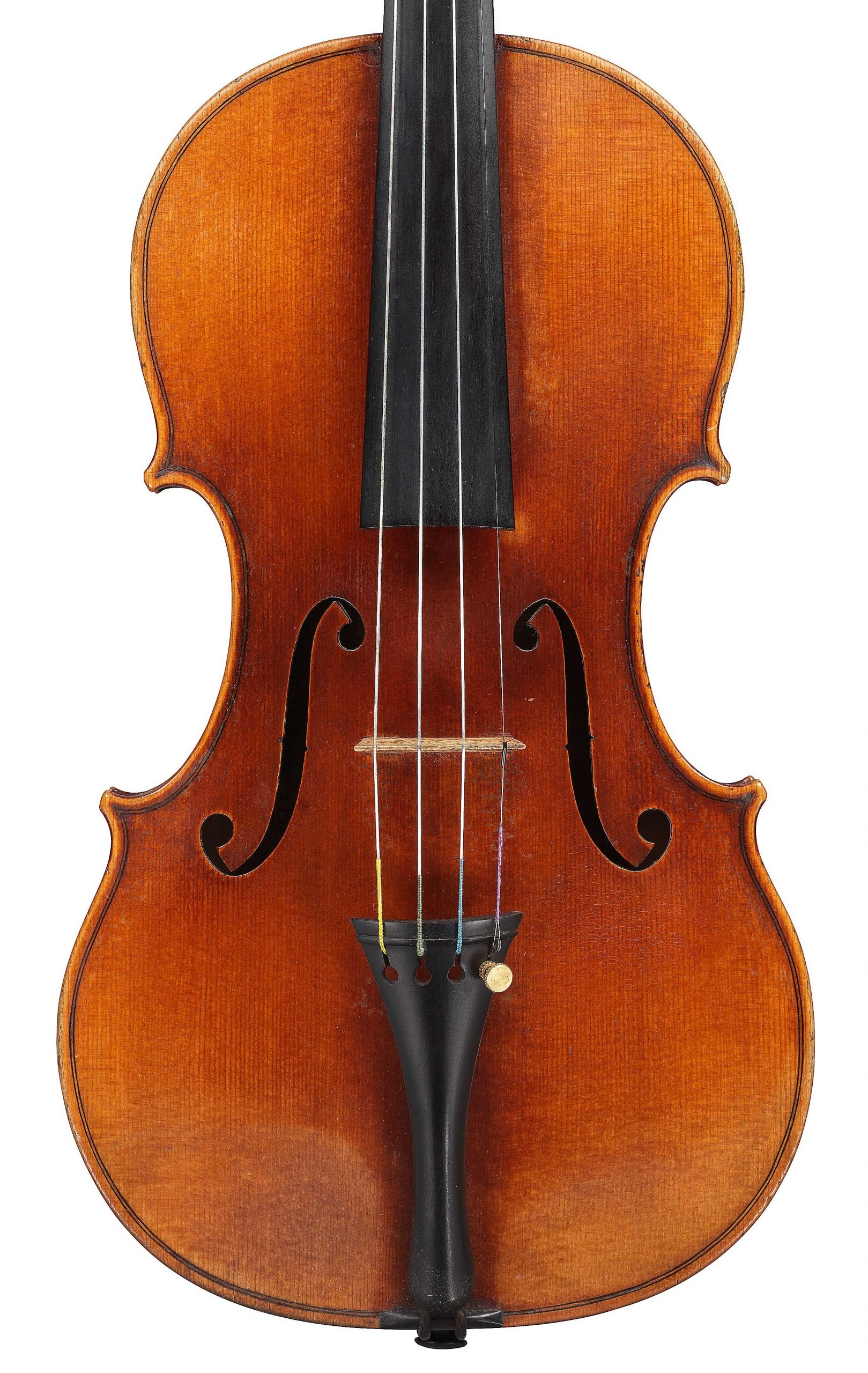 Front of violin by JB Vuillaume, dated 1859, ex-Karrman, exhibited by Ingles & Hayday at Sotheby's in 2012